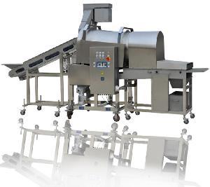 我们研发生产的DRG400滚筒鸡柳条裹糠机  得尔润牌  效率高