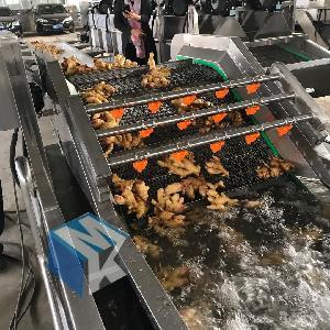 专业生产高压清洗机自动蔬菜生姜喷淋清洗设备_杭州森山东一机械设备图片