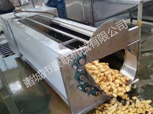 供应优质尼龙毛辊全自动出料式大姜去皮清洗机