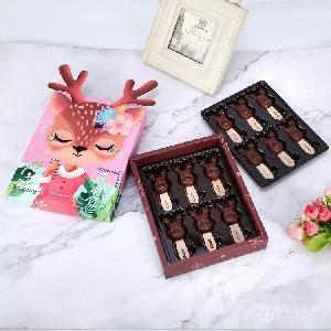 網紅麋鹿棒棒糖零食純可可脂黑巧克力禮盒裝圣誕節送女友兒童