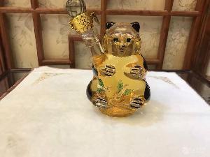 玻璃熊貓造型工藝酒瓶空心熊貓玻璃酒瓶個性酒瓶