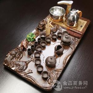 全自动电器双龙戏珠茶盘紫砂茶具