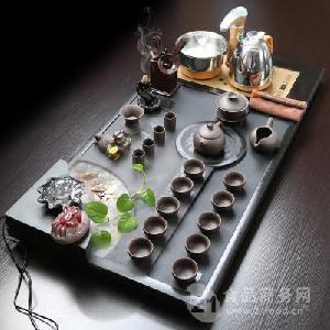 全自动电器乌金石海纳百川茶盘紫砂茶具