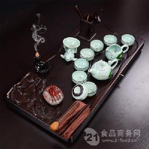 三鱼戏水手绘青蛙茶具套装