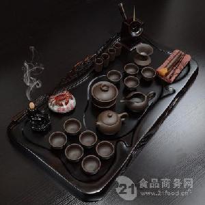 花香鸟语黑紫砂茶具套装