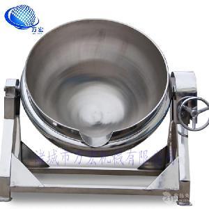 廠家直銷200蒸汽式夾層煮制鍋鹵制鍋帶攪拌不銹鋼可傾斜出料