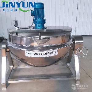 供应300L全钢铁架电加热夹层锅 黄桃罐头消毒锅